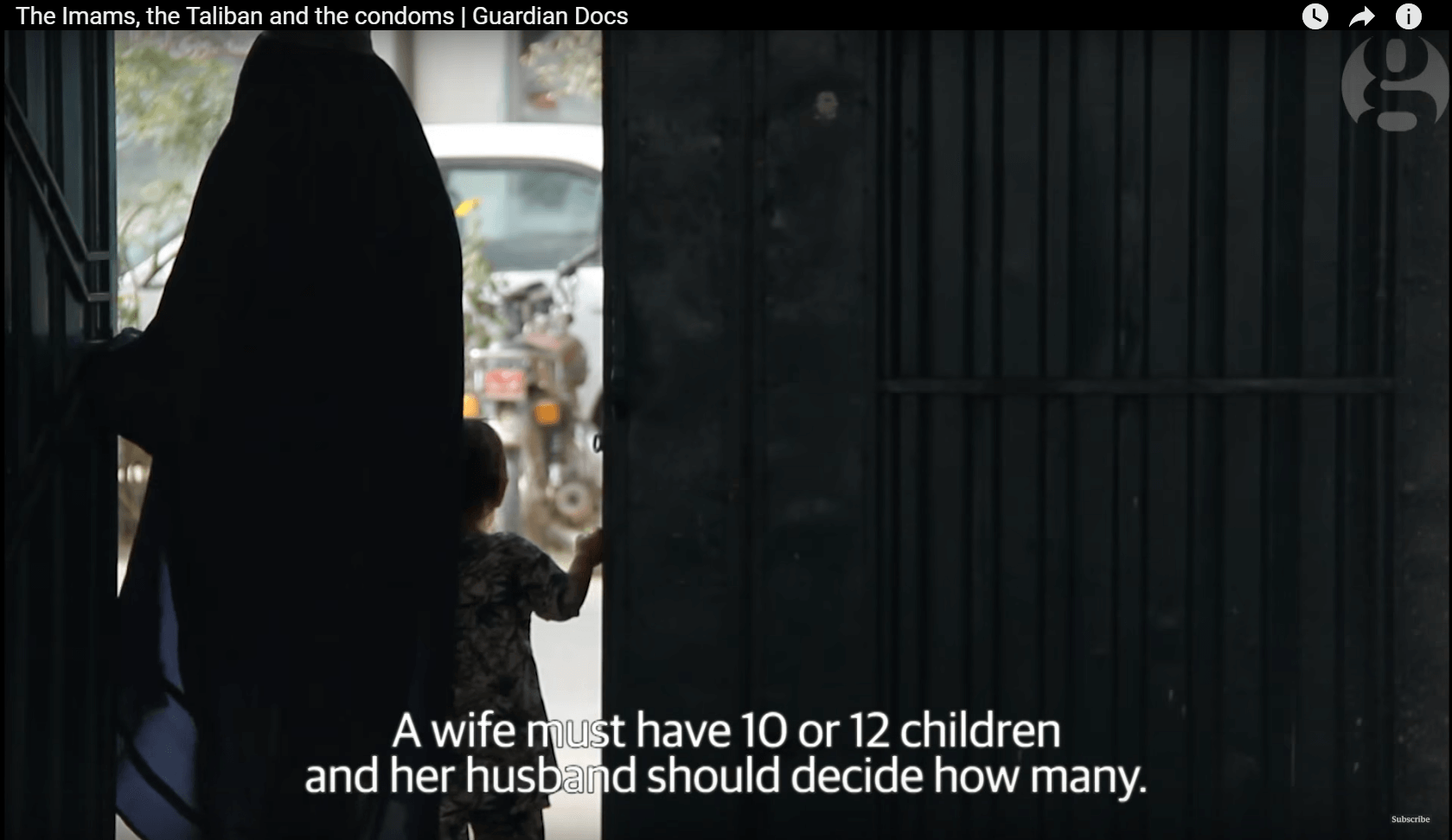 """A wife must have 10 or 12 children and her husband should decide how many. If we gave women a choice, they'd never have children and that would be a sin."" Afghan elder interviewed by The Guardian, 4 Nov 2015."