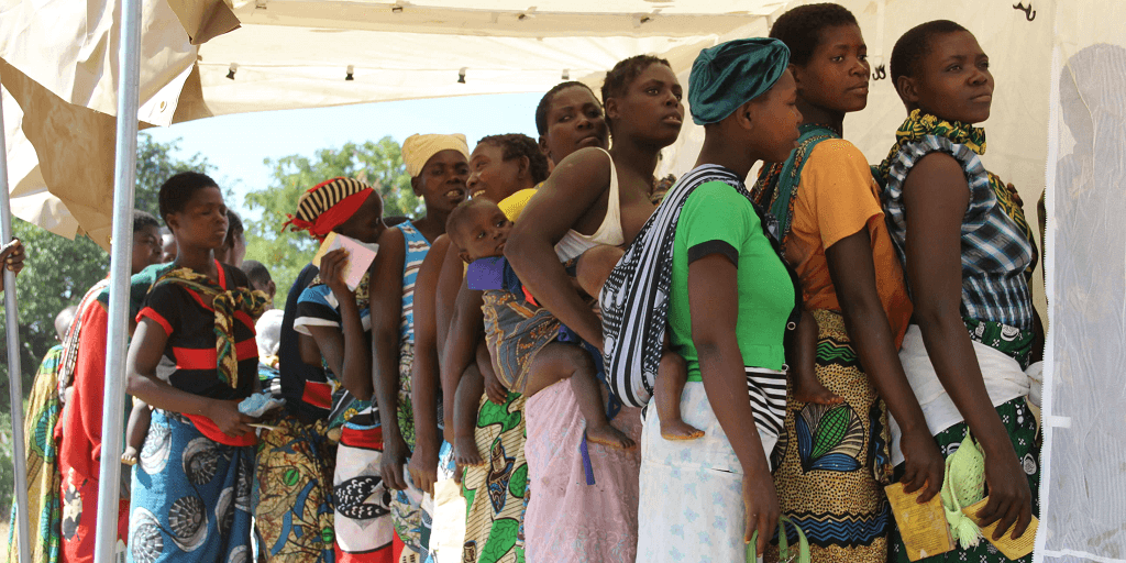 Queue to register for family planning services in rural Malawi